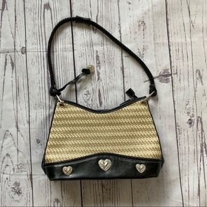 Tan rattan weave & black medium hearts purse bag